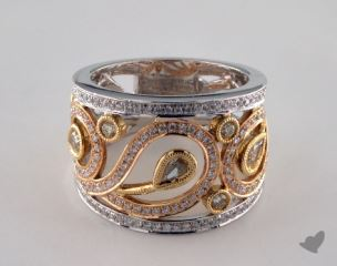 Platinum & Mixed Gold 1.22ctw Yellow & White Diamond Ring
