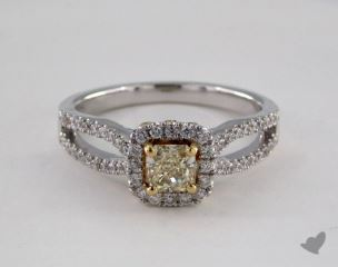 18k Two Tone Gold 0.93ctw Radiant Yellow & Pave Diamond Ring