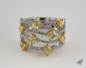 18k White Gold 2.27ctw Yellow & White Pave Diamond Ring
