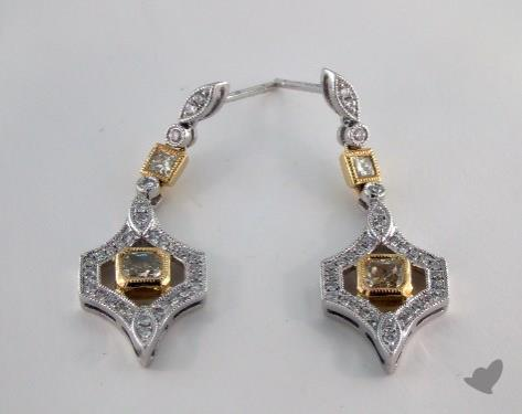 18K White and yellow - 0.84tcw  - Radiant - Yellow Diamond Earrings