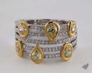 18K White & Yellow Gold 1.86ctw Round and Pear Diamond Ring