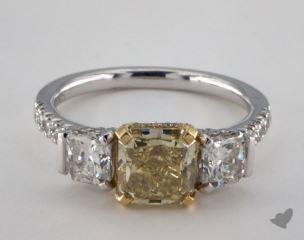 18k Two Tone Gold 3ctw 3-Stone Yellow & White Diamond Ring