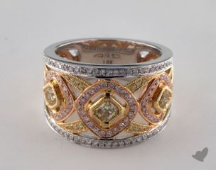 18k Three Tone Gold 1.25ctw Yellow, White & Pink Diamond Ring