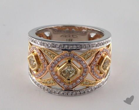 18k Three Tone Gold 1.25ctw Yellow, White & Pink Diamond Ring