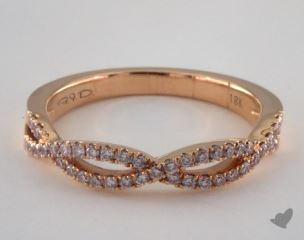 18K Rose Gold Braided Pink Pave Diamond Ring