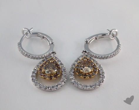 18K White and yellow - 0.87tcw  - Pear - Champagne Earrings