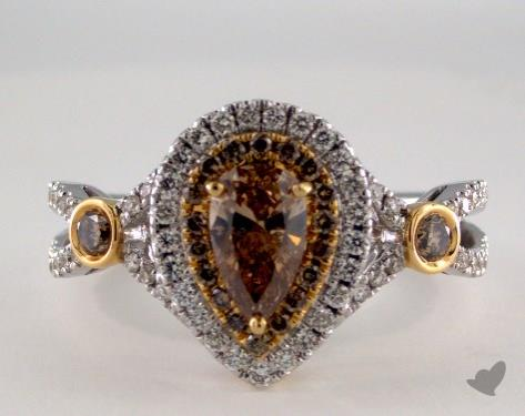 18K White & Yellow 1.22ctw Pear Champagn Diamond Ring