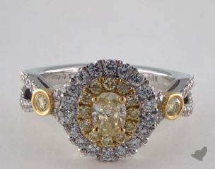 18K White & Yellow 1.44ctw Oval Yellow & Pave Diamond Ring