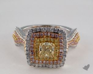 18k 3 Tone Gold 1.72ctw 3 Tone Pave Diamond Ring