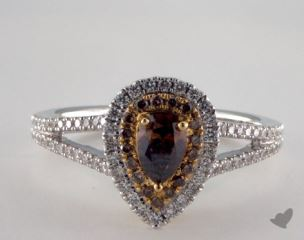 18K White & Yellow Gold 0.92ctw Pear Champagn Diamond Ring