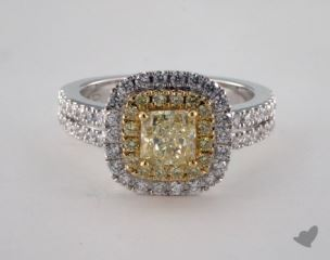 18K Two Tone Gold 1.55ctw Radiant Yellow & Pave Diamond Ring