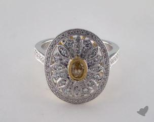 18K 2 Tone Gold .73ctw Vintage Yellow & Pave Diamond Ring