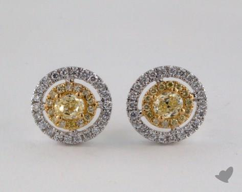 18K White and yellow - 0.31tcw  - Oval - Yellow Diamond Earrings