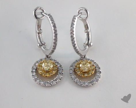 18K White and yellow - 0.41tcw  - Oval - Yellow Diamond Earrings
