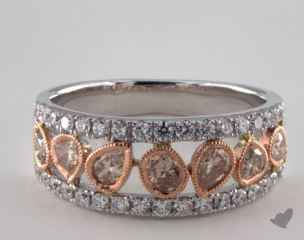 14K White & Rose Gold 0.96ctw Champagne & Pave Diamond Ring