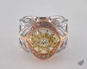18k 3 Tone Gold 1.61ctw Radiant Yellow & Pave Diamond Ring