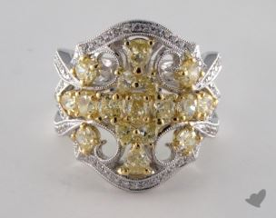 18K Two Tone Gold 2.69ctw Oval Yellow & Pave Diamond Ring