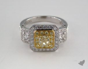 18K Two Tone Gold 1.68ctw Radiant Yellow & Pave Diamond Ring