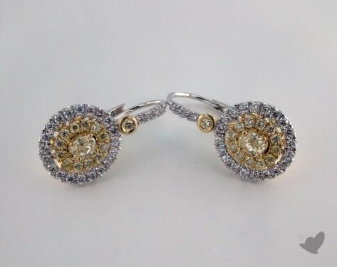 18K White and yellow - 0.39tcw  - Oval - Yellow Diamond Earrings