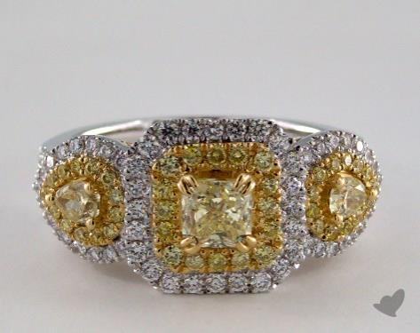 18K White & Yellow 1.66ctw Radiant Yellow & Pave Diamond