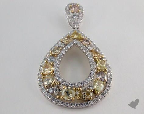 18K White Gold - 1.91ct  - Mixed - Yellow Diamond Pendant
