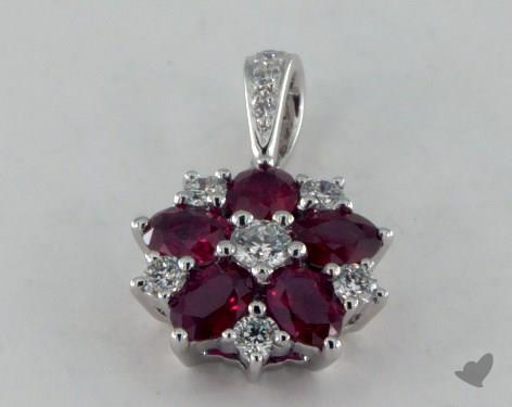 18K White Gold - 0.90ct  - Red Pendant