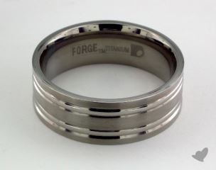 Titanium 8mm Comfort-Fit Satin-Finished Concaved Cuts Design Ring