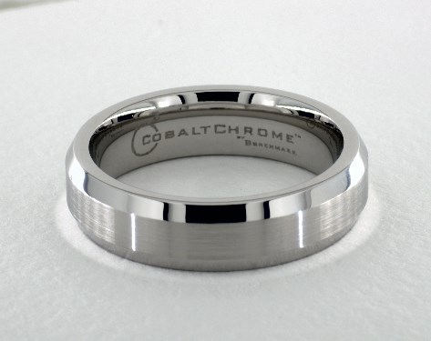 Cobalt chrome™ 6mm Comfort-Fit Satin-Finished Beveled Edge Design Ring