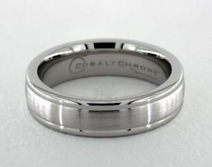Cobalt chrome™ 6mm Comfort-Fit Satin-Finished Round Edge Design Ring