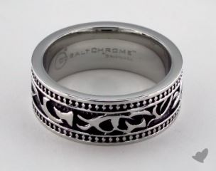 Cobalt chrome™ 8mm Comfort Fit Scroll Pattern Ring