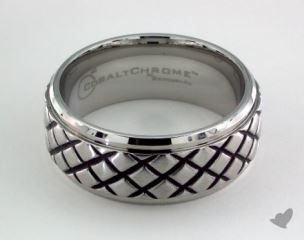 Cobalt chrome™  9mm Comfort Fit Blackened Cross Hatch Ring