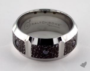 Cobalt chrome™ 10mm Comfort Fit Blackened Micro Hammer Diamond Ring