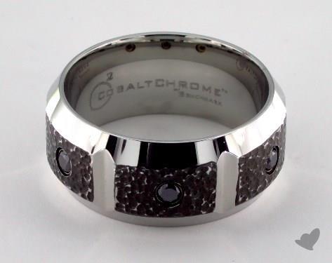 Cobalt chrome™ 10mm Comfort Fit Blackened Micro Hammer Diamond Ring