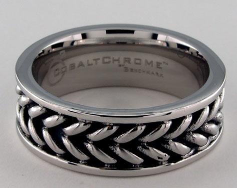 Cobalt chrome™ 8mm Zippered Pattern Center Comfort Fit Ring